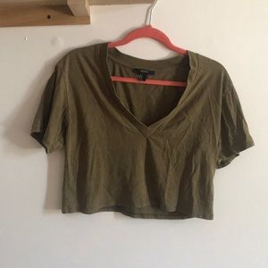 Size medium green v neck crop top